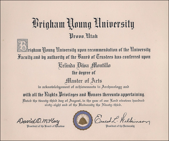 Diploma of Dr. Erlinda M. Burton from Brigham Young University