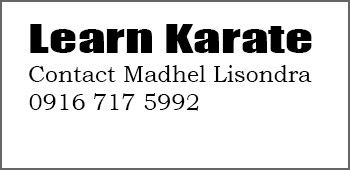 Learn Karate. Contact Madhel Lisondra.